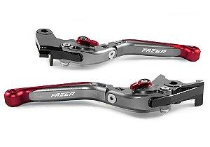 Manete Esportivo Titanium Vermelho Yamaha Fazer 250 A Laser