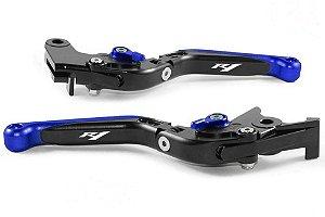Manete Esportivo Preto Azul Yamaha  Yzf R1 Gravado A Laser