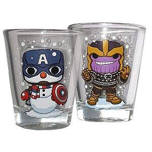 Funko POP Marvel - Shots Thanos e Capitão América