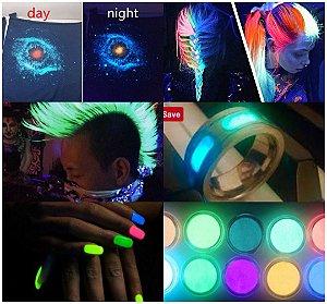 Pó Glow *Pó Neon *Diversas Cores * Brilham No Escuro Sem Luz Negra*