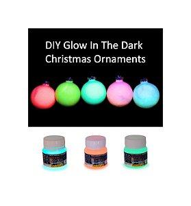 Kit Natal Tinta Glow potes 50ml Verde, Vermelho e Azul Neon