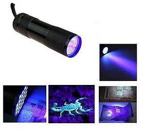 Lanterna Ultra Violeta UV 9 Leds, em Aluminio Preto. Caça Escorpiao, Nota Falsa, Vidro quebrado. * Promoção
