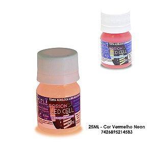 Tinta Glow 25ML - Cor Vermelho Neon - Brilha No Escuro Sem Luz Negra