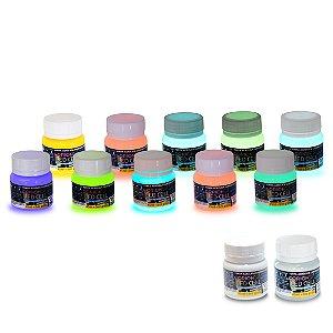 Kit Tinta Glow 7 potes de 100ml + 900 ml de tinta basica transparente Frete Gratis