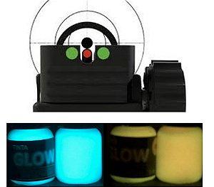 Kit 2 Cores 5ml (c/ Aplicador) Azul Neon + Laranja Neon. Ponto Glow Alça Maça Mira Armas