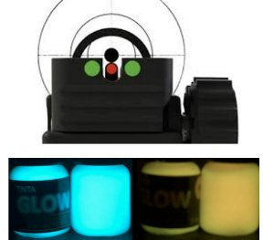 Kit 2 Bisnagas Tinta Glow Corion 5ml (c/ Aplicador) Azul Neon + Laranja Neon. Ponto Glow Alça Maça Mira Armas