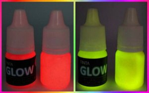 Kit 2 Cores: Amarelo Neon + Vermelho Neon Tinta Corion Glow 5ml c/aplicador. Brilha no Escuro sem Luz Negra