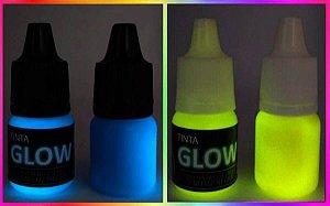 Kit 2 Cores: Azul Neon + Amarelo Neon Tinta Corion Glow 5ml c/aplicador