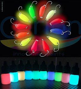 Isca Glow: Tinta Glow Corion Fosforescente 5ml c/ Aplicador. Diversas Cores. Brilha no Escuro sem Luz Negra