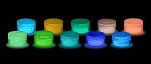 Kit 10 Cores Pó Glow - Todas as Cores - Fosforescente - Brilha No Escuro Sem Luz Negra * Frete Gratis e Parcela