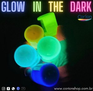 Kit 10 Potes 50ml Tinta Glow Corion Fosforescente luminescente Brilha no Escuro - Desconto e Frete Gratis