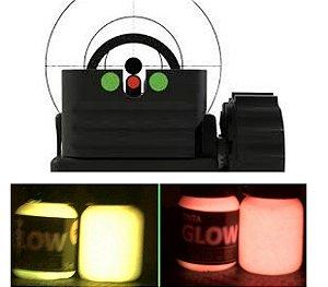 Kit 2 Cores Tinta Glow Fosforescente com Bico Aplicador para Alça e Maça de Mira