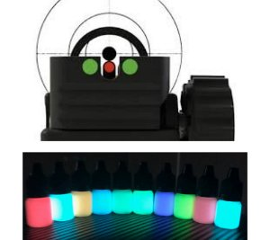 Kit 3 Cores Tinta Glow + Primer 5ml (c/ aplicador) Amarelo + Vermelho Neon. Ponto Glow Alça Maça Mira Armas