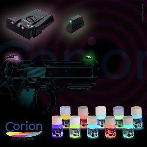 Kit 2 Cores de 25ML Tinta Glow Corion. Com Bico Aplicador para Alça e Maça de Mira. Cores a Escolher