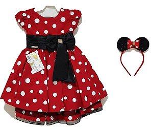 Vestido Infantil Minnie Vermelho com Tiara - Menina Bonita