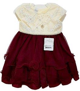 Vestido Infantil de Festa Creme/Vinho - Nelu
