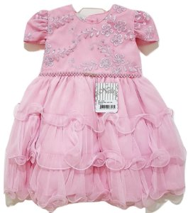 Vestido Infantil de Festa Rosa - Nelu