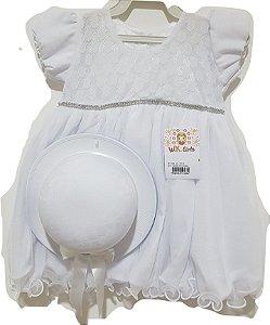 Vestido Infantil Batizado com Chapéu - Wandy