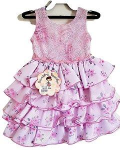 Vestido Infantil Festa Rosa Babado - Bambina Fashion
