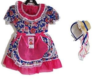 Vestido Infantil Festa Junina Azul com Tiara - Tata