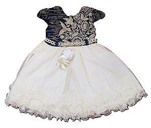 Vestido Infantil de Festa Luxo Azul Creme Menina Bonita