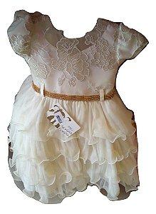 Vestido Infantil Luxo Creme Menina Bonita