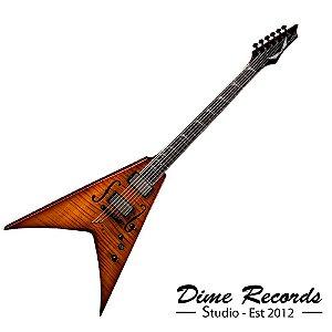 Guitarra Dean Flying V Dave Mustaine Stradivmnt Limited Burst - Edição Limitada com Case e Captador Seymour Duncan LiveWire ativo