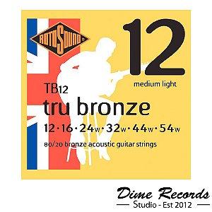 Encordoamento para Violão de Aço Rotosound Tb12 Tru Bronze 012 - Made in England
