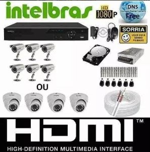 Kit Cftv 6 Cameras Infra 1200l Dvr 8 Canais Intelbras + hd 500 Gb