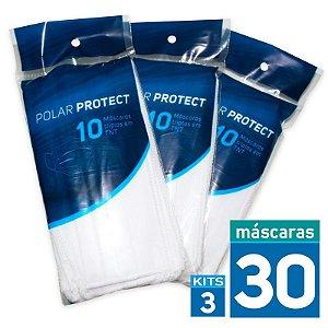 30 Máscaras Descartáveis em TNT Tripla Camada | 03 Embalagens com 10 máscaras em cada