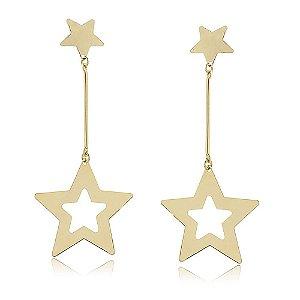 Maxi Brinco Pêndulo Estrelas Folheado a Ouro