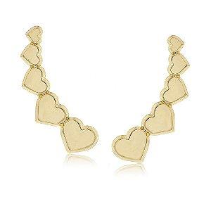 Brinco Ear Cuff Corações Folheado a Ouro