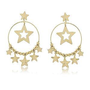 Maxi Brinco Argola com Estrelas e Bolinhas Folheado a Ouro