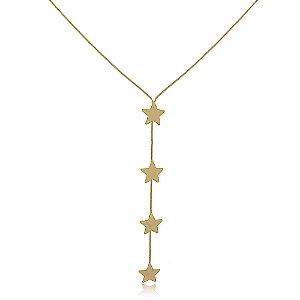 Colar Gravatinha Estrelas Folheado a Ouro