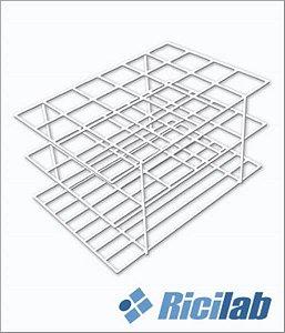 Estante Fabricada em arame revestida com PVC branco, para colocar 12 tubos de 25mm, mod.: RIC03212-25 (Ricilab)