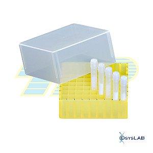 Criobox para 81 tubos criogênicos de 1,2mL/2mL, PP, tampa destacável, cor amarela, unidade mod. 99015 (TPP)