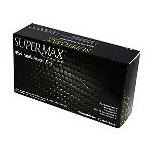 Luva Procedimento Não Cirúrgico, Não Estéril, Nitrilo, Sem Talco, Preta, Médio, caixa com 100 unidades, mod.: 243120 (Supermax)
