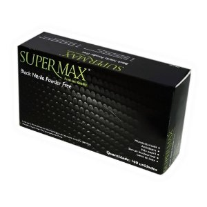 Luva para procedimento, nitrilo, preta, sem talco, pequeno, caixa com 100 unidades, mod.: 243110 (Supermax)