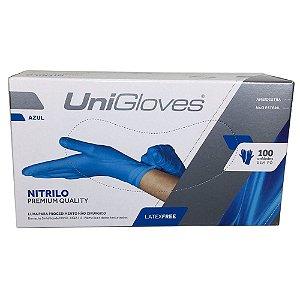 Luva para procedimento, nitrilo, azul, sem talco, grande, caixa com 100 unidades, mod.: NITRILO-G (Unigloves)