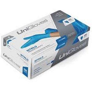 Luva Procedimento Não Cirúrgico, Não Estéril, Nitrilo, Sem Talco, Azul, Grande, caixa c/100 unidades, mod.: NITRILO-G (Unigloves)