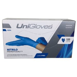 Luva Procedimento Não Cirúrgico, Não Estéril, Nitrilo, Sem Talco, Azul, Médio, caixa c/100 unidades, mod.: NITRILO-M (Unigloves)