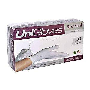 Luva Procedimento Não Cirúrgico, Não Estéril, Latéx, Com Talco, Branca, Médio, caixa 100 unidades, mod.: STANDARD-M (Unigloves)