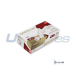 Luva Procedimento Não Cirúrgico, Não Estéril, Latéx, Sem Talco, Branca, Grande, caixa 100 unidades, mod.: CONFORTO-G (Unigloves)
