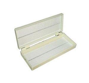 Caixa porta lâminas com capacidade para 100 lâminas, branca, unidade, mod.: 2905-1 (J. Prolab)