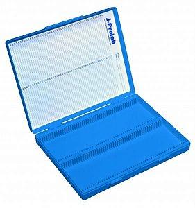 Caixa porta lâminas com capacidade para 50 lâminas, azul, unidade, mod.: 2905-4 (J. Prolab)