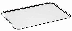 Bandeja retangular lisa 31,5 x 21 cm, borda com altura de 1,5 cm, mod.: 0938 (Art'Inox)