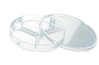 Placa de Petri para microbiologia 90x15mm, tripartida, com 2 divisórias, pacote com 10 unidades, mod.: 18144 (Cralplast)