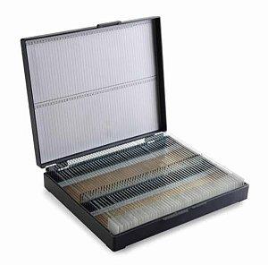 Caixa plástica, tipo maleta, capacidade para 100 lâminas de microscopia, unidade, mod.: 2708 (Cralplast)