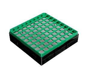 Criobox para 81 microtubos de 3 à 5 mL, policarbonato, verde, unidade, mod.: CB81T5G (Bionaky)