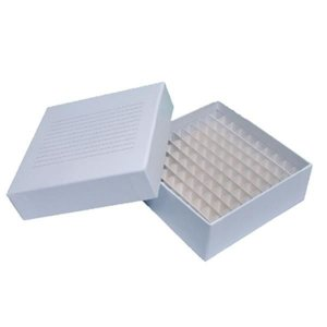 Caixa fibra de papelão com 100 furos para armazenar tubos de 1,5 à 2 mL, unidade, mod.: CP100-2P (Cralplast)
